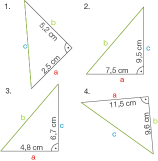 Flächensätze am rechtwinkligen Dreieck: Satz des Pythagoras