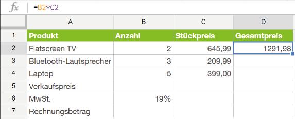 Prozentrechnung: Tabellenkalkulation nutzen
