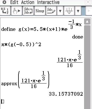 Setze Den Radius G(−0,5) G ( − 0 , 5 ) In Die Formel Für Den Flächeninhalt  Eines Kreises Ein Und Berechne Mit Hilfe Des CAS.