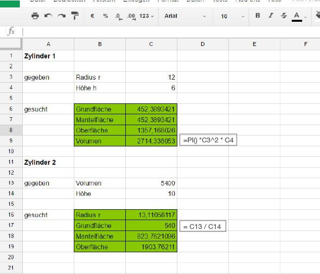 Tabellenkalkulation nutzen - Geometrie - Mathe (R-Zug) - Bayern ...
